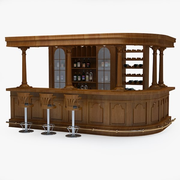 3d bar counter model