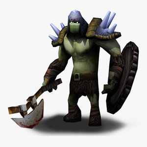 orc axe shield 3d obj