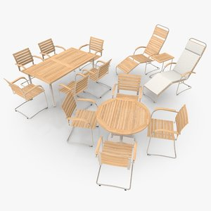 3ds max cantilever patio furniture scene