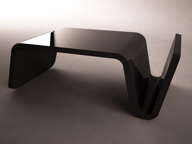 3d model glossy plastic black table
