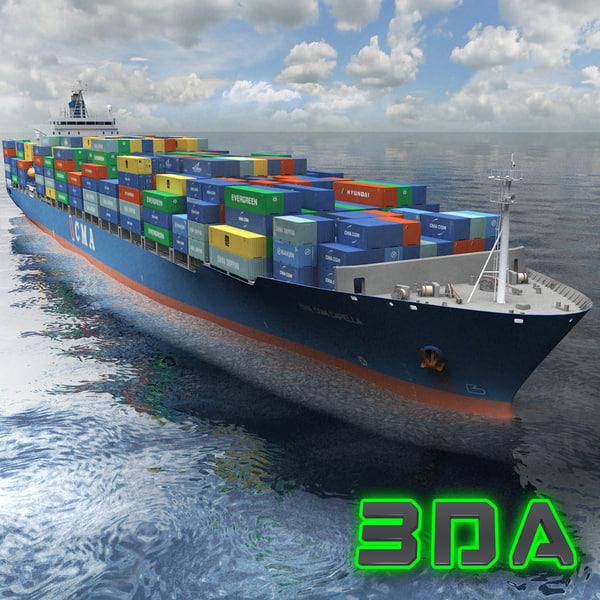 container ship cargo 3300teu 3d max