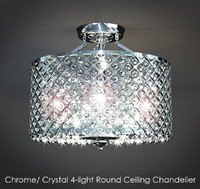 ChromeCrystal 4-light Round Ceiling Chandelier