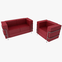 3d model modern sofa armchair le corbusier