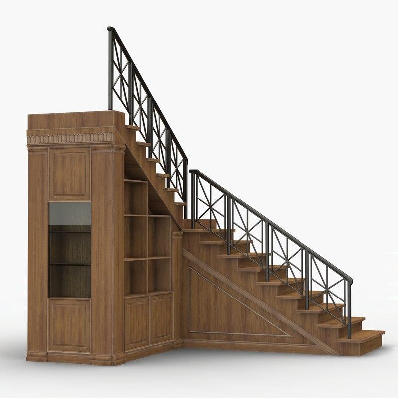 3d model wooden stair