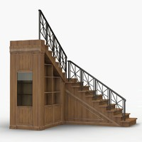3d model wooden stair
