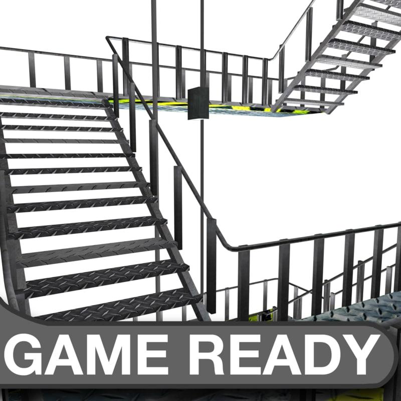 metal stair case 3d x