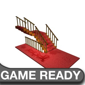 bloody carpet stair case 3d model