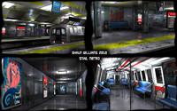 Low Poly Metro Subway station & Train