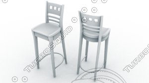 bar chair stool tall 3d ma