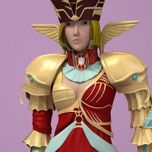 fantasy warrior woman 3d model