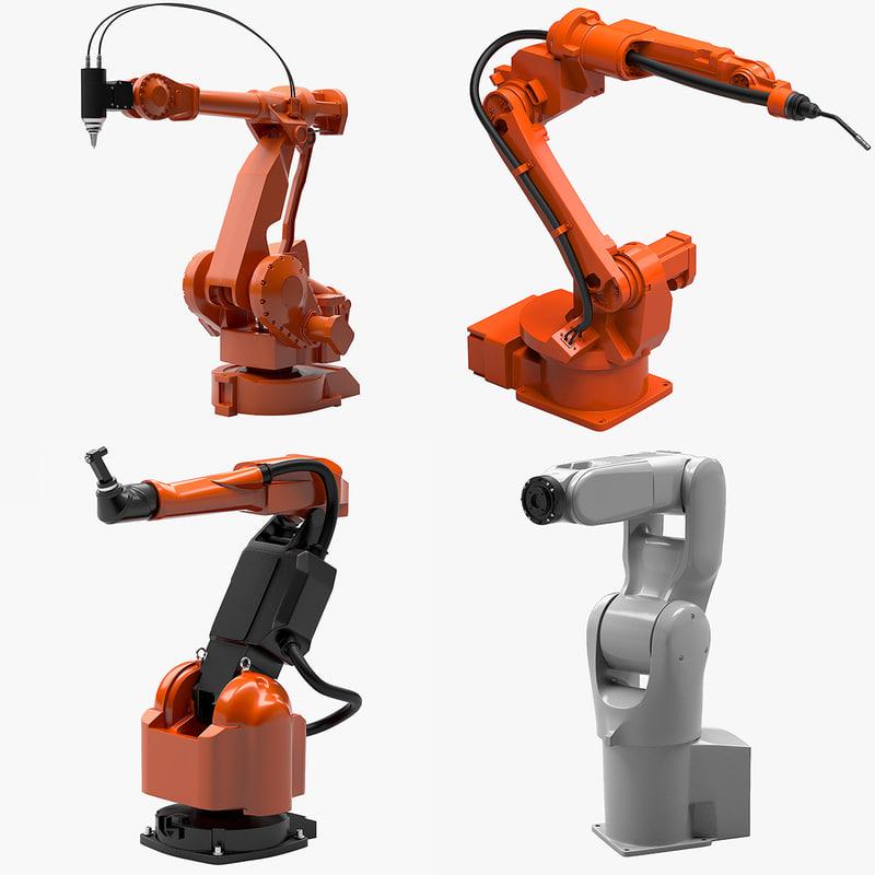 3d model 4 industrial robots set