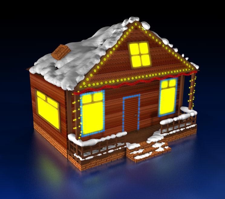 cinema4d christmas house