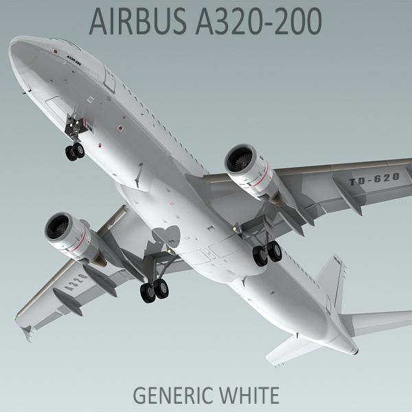 3d model a320-200 generic white plane