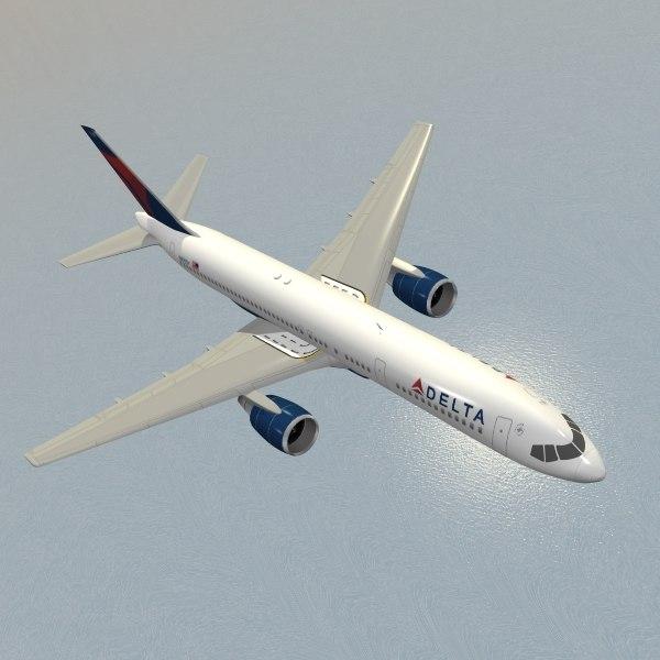 airliner boeing 757-200 delta 3d model