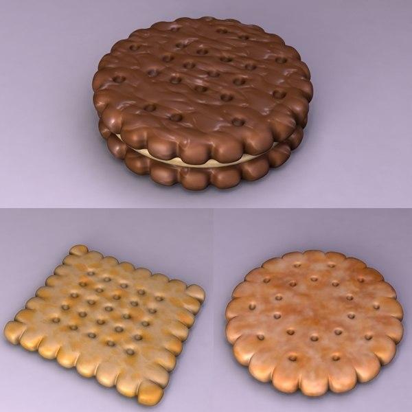 3d biscuit cookie food model