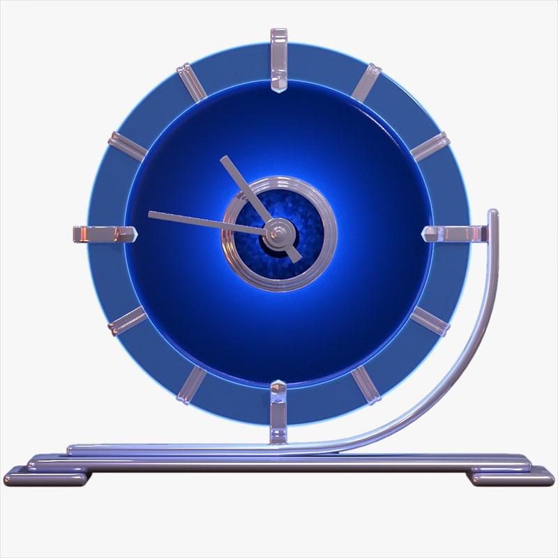 3ds blue glass art deco