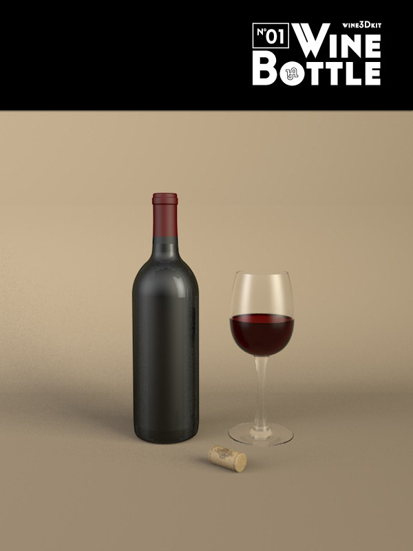 3d bottle 01 wine
