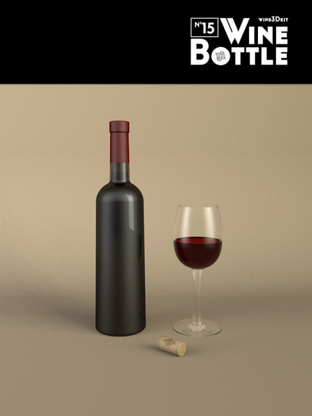 3d bottle 15 wine model