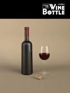 3d bottle 15 wine model
