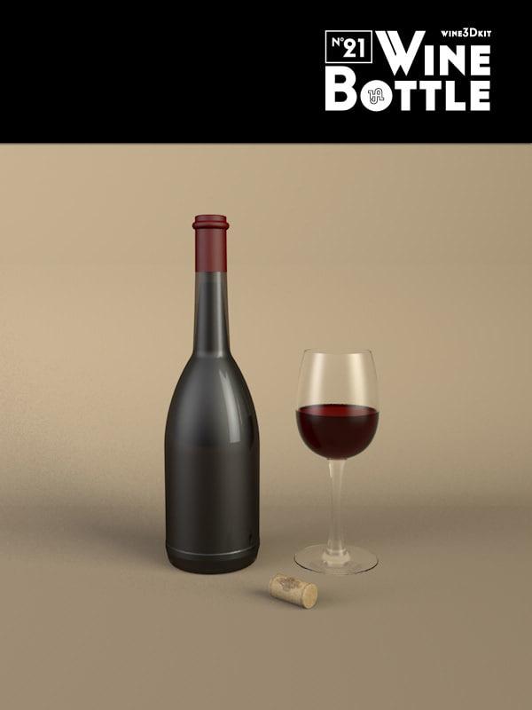 3d model bottle 21 wine