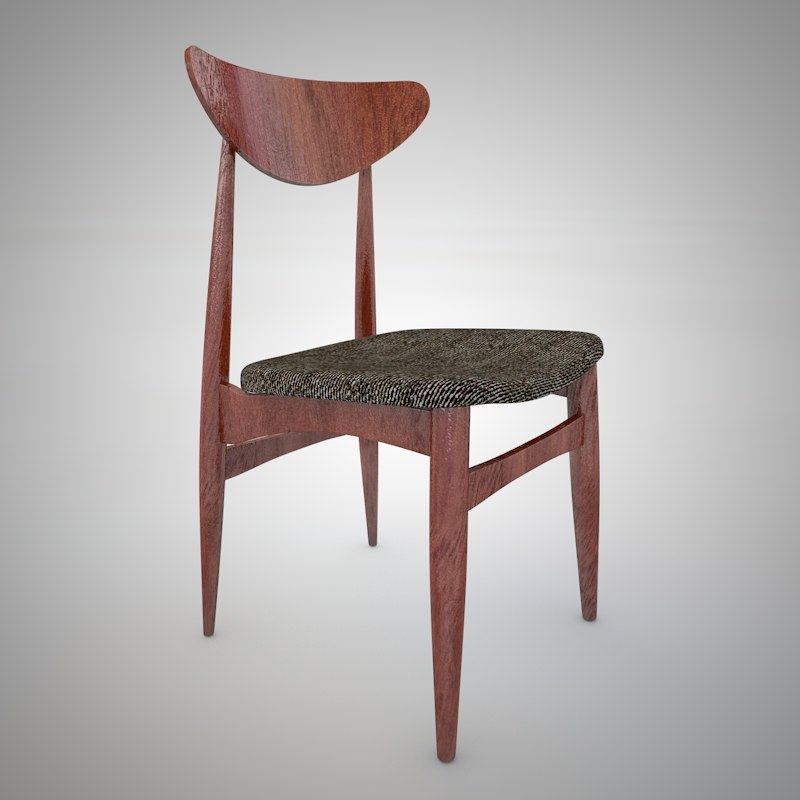 vintage danish style chair 3d c4d