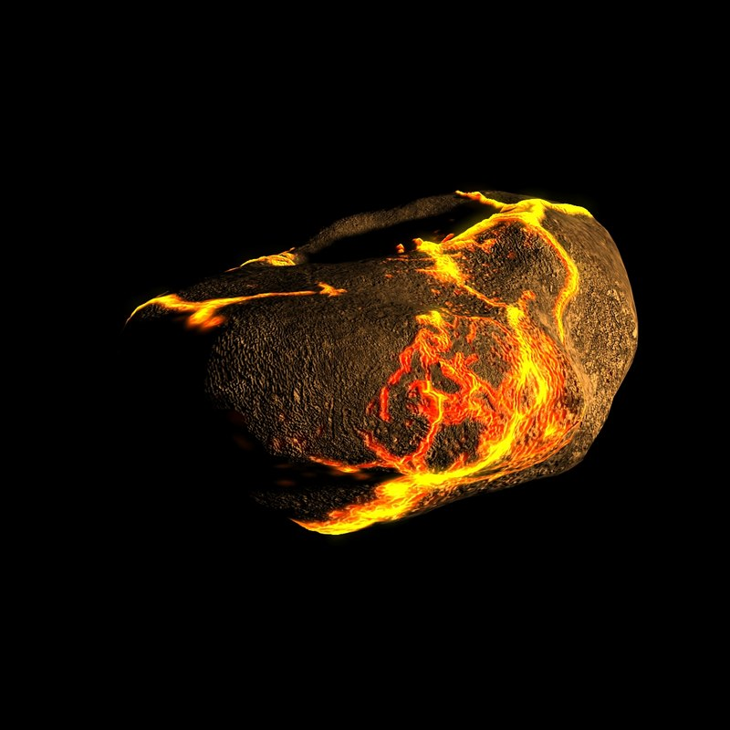 3d cracked asteroid model