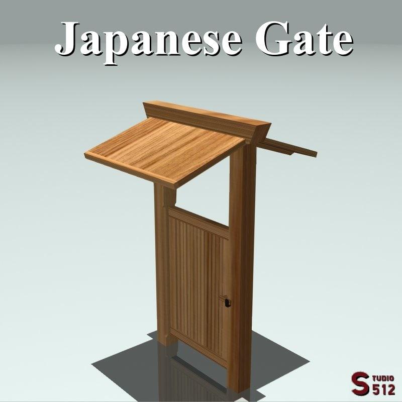 3d obj japanese gate