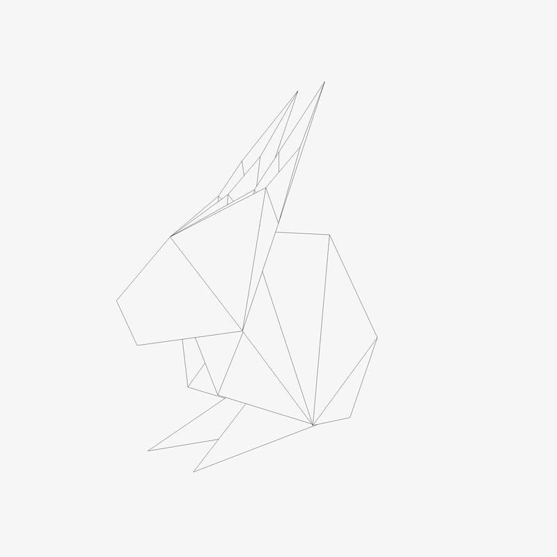 3d Model Origami Rabbit