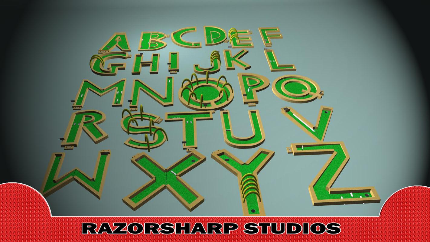 mini golf alphabet course 3d ma
