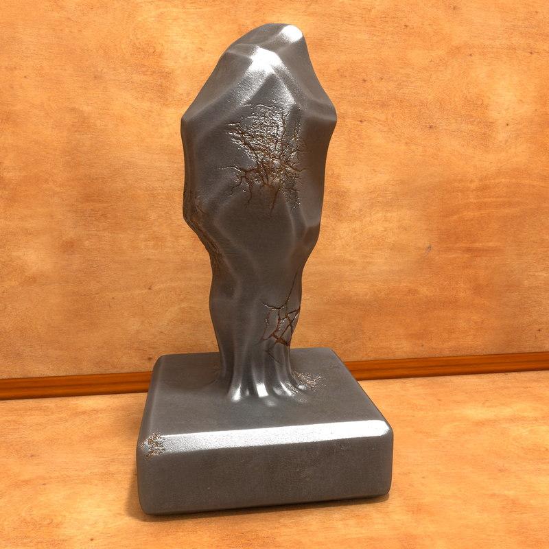 3d model statue art book
