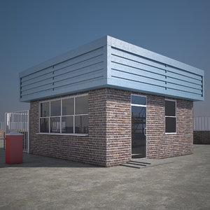 3d model security guard hut