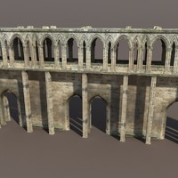 3ds max castle ruin modelled