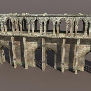 3ds max castle ruin modelled
