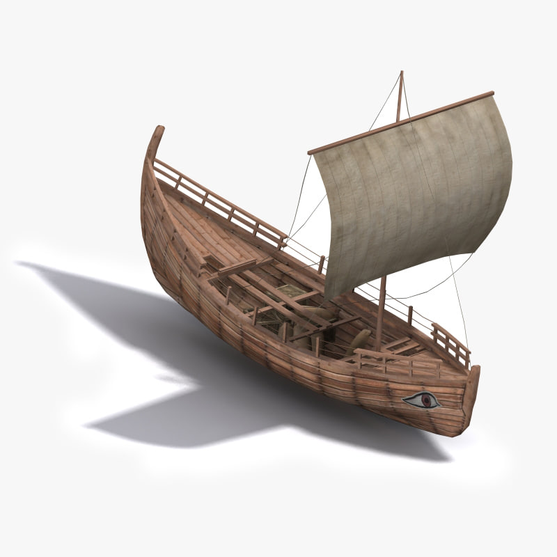 3d greek ancient trade ship model