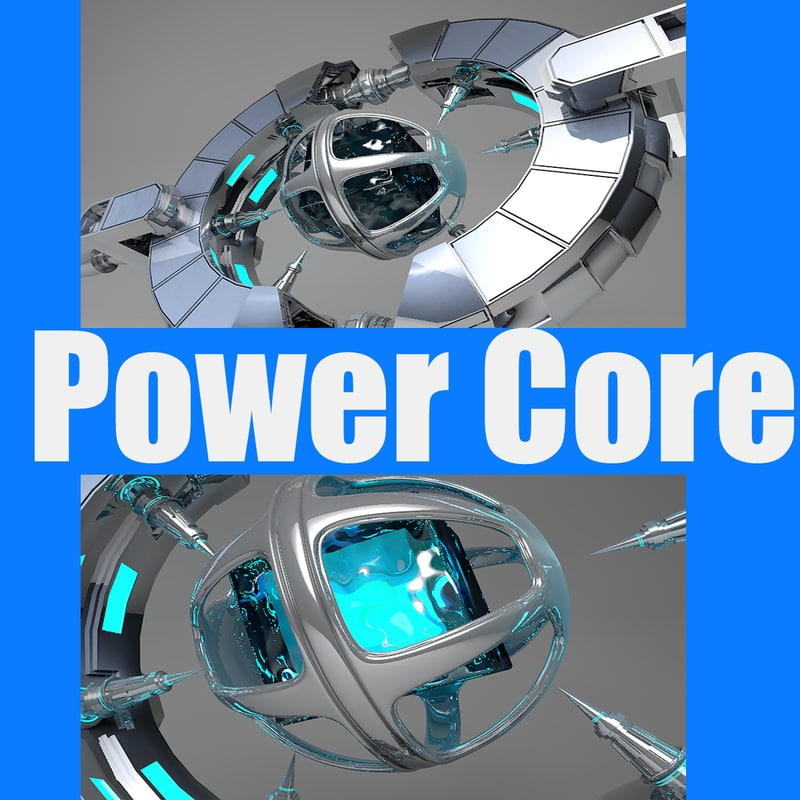3d power core spaceship model