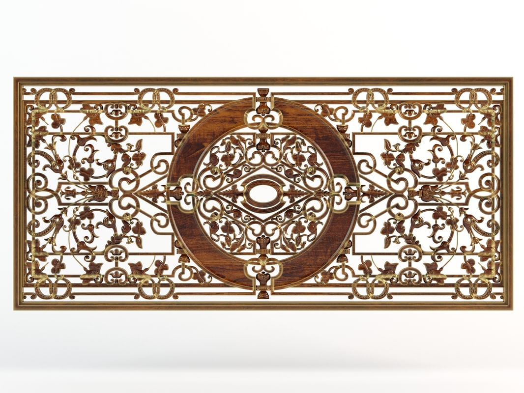 carved wooden element 3ds