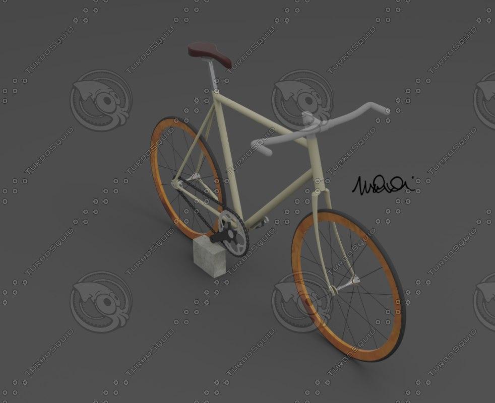 3d model fixed bike