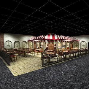 3ds max restaurant patio interior