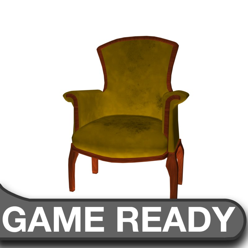3d victorian chair yellow model