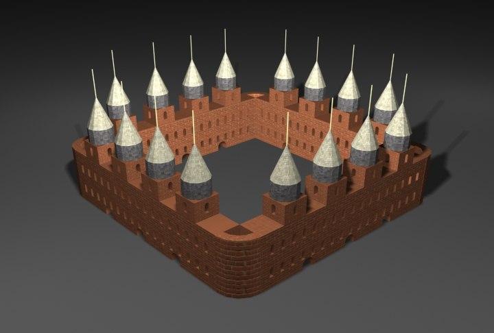 free castle autocad 3d model