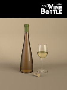 3d bottle 19 wine model