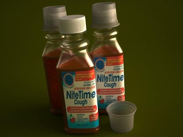 cold medicine bottle 354ml 3d model