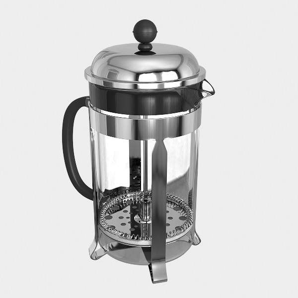 french press coffee maker 3d model