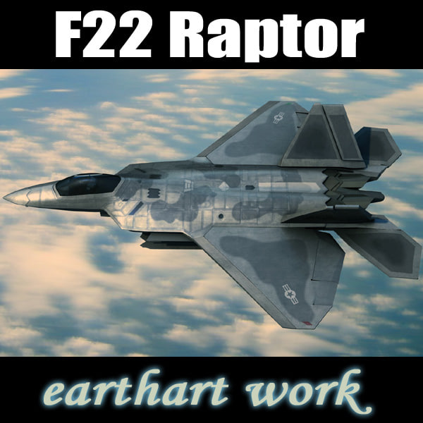 f-22 raptor fighter aircraft 3d max