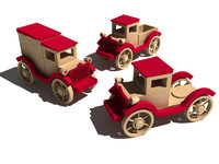 3d model old wooden toy car