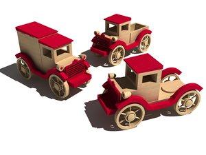 3d model old wooden toy car