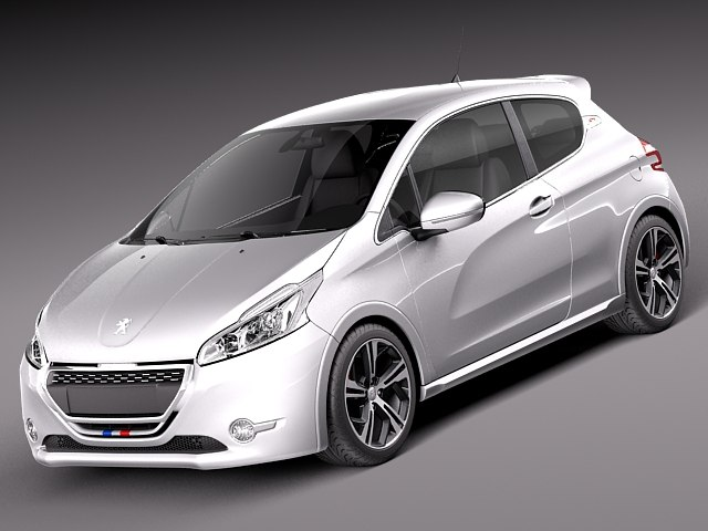 3d model peugeot 208 gti 2014. Black Bedroom Furniture Sets. Home Design Ideas