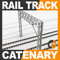 3d railway track catenary railroad rail
