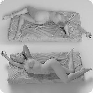 3d sculpture girl morning