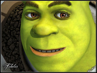 3d model shrek photorealistic pixar